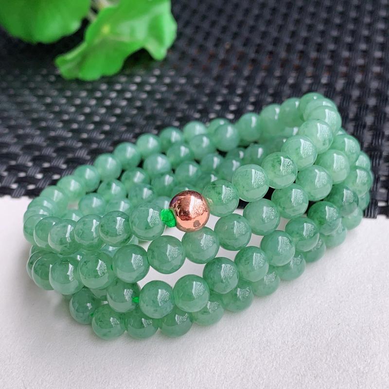 满绿项链、尺寸:108颗6.4mm,A货翡翠冰润满绿圆珠项链、编号0225a