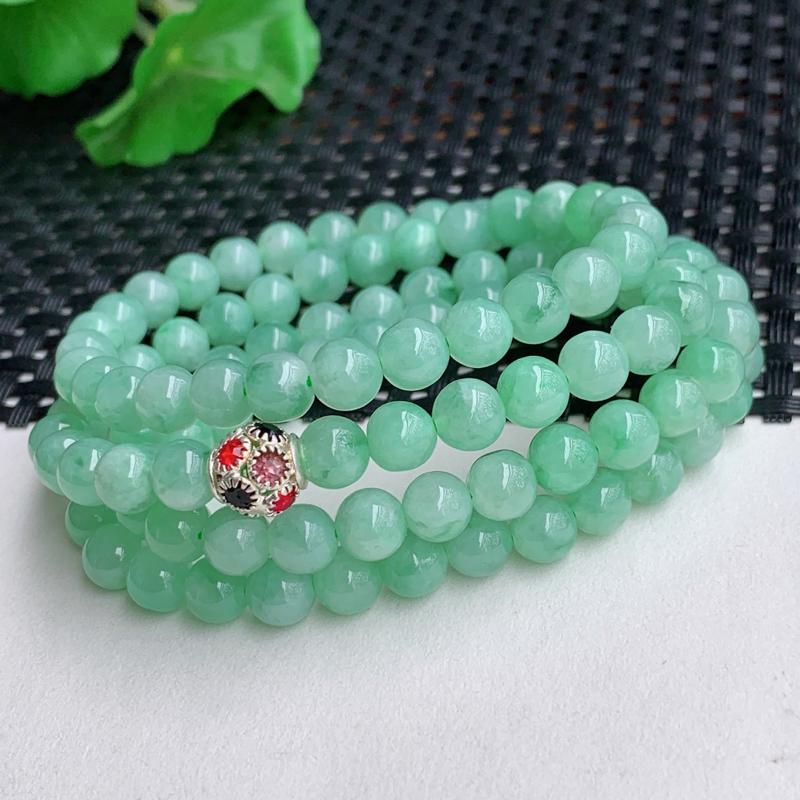 满绿项链、尺寸:108颗6.5mm,A货翡翠冰润满绿圆珠项链、编号0225a