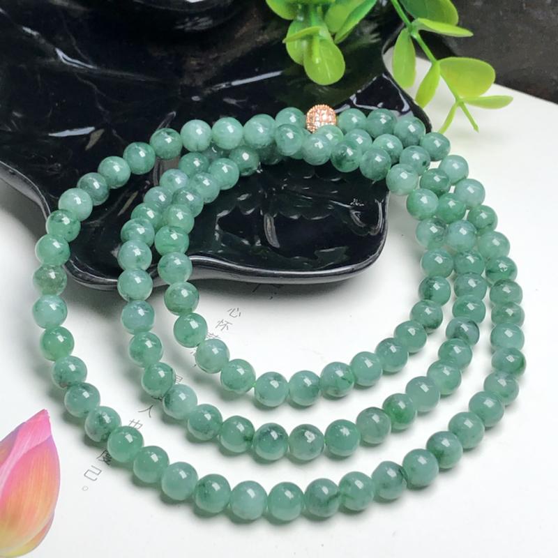 糯种飘绿花翡翠珠链项链、108颗、直径7.4毫米、质地细腻、色彩鲜艳、隔珠是装饰品、ADA216C3
