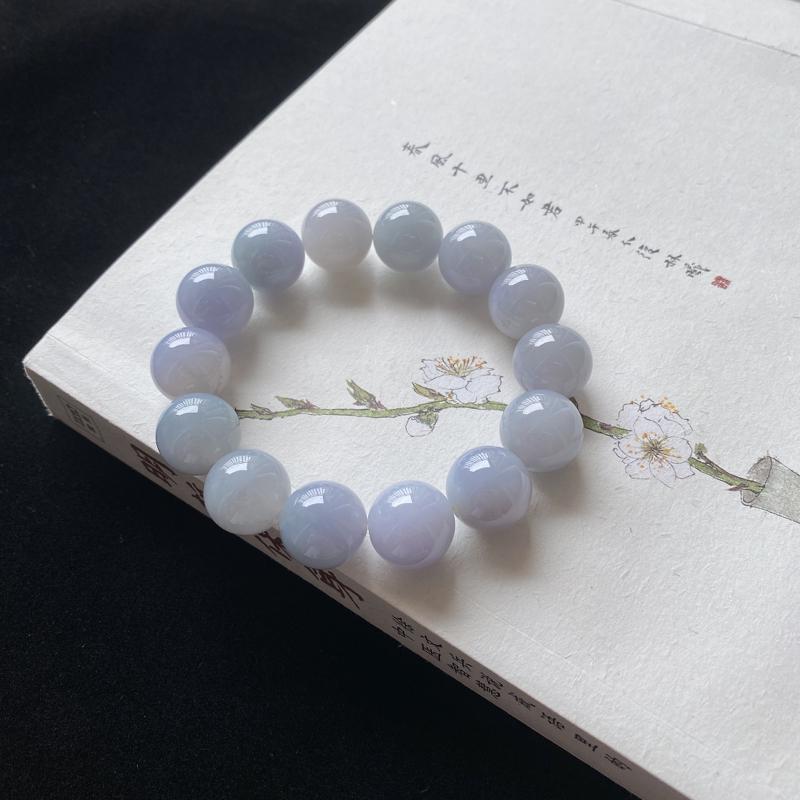 0224老坑精美水润紫罗兰天然A货翡翠玉珠手链