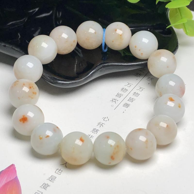 糯种撒黄金翡翠珠链手串、直径13.2毫米、质地细腻、水润光泽、ADA101C13