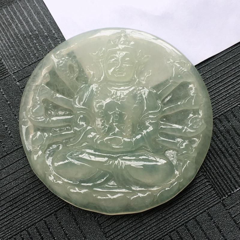 翡翠冰糯种度母观音吊坠,种水好玉质细腻温润。