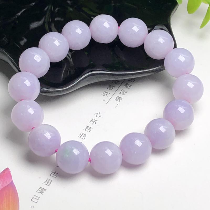 糯种粉紫翡翠珠链手串、直径13.3毫米、质地细腻、色彩鲜艳、ADA267C2