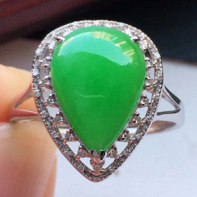 翡翠18圈18k金伴钻镶嵌带绿水滴戒指,玉质莹润,佩戴佳品,内径:18.3mm(可免费改圈口大小),