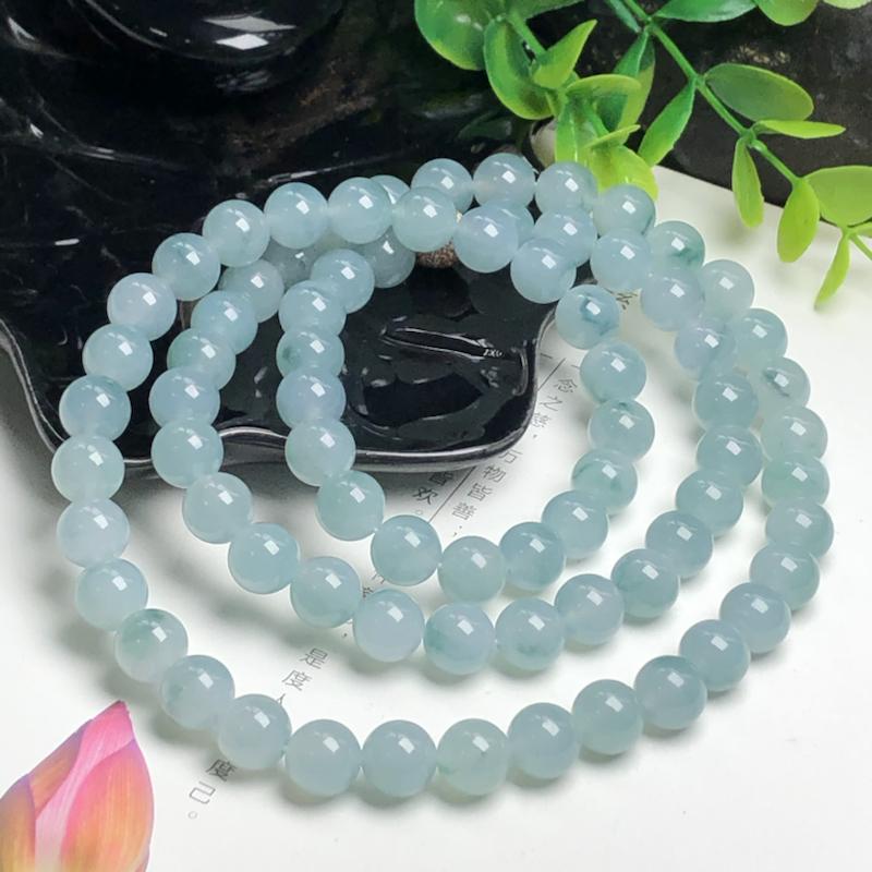 糯化种飘蓝花翡翠珠链项链、76颗、直径9.8毫米、质地细腻、水润光泽、隔珠是装饰品、ADA216D1