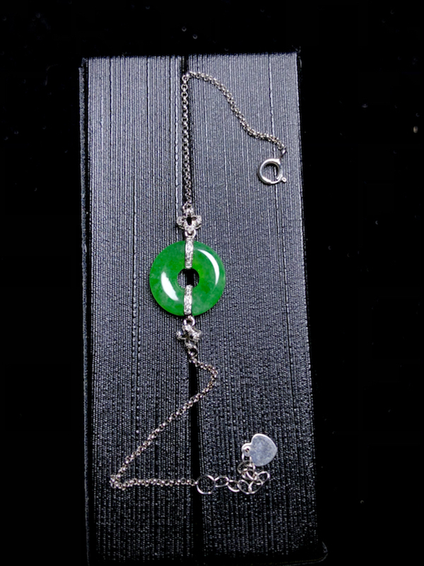 平安扣子手链, 裸石12.5-3mm, 2g, 18K金伴天然钻石镶嵌,