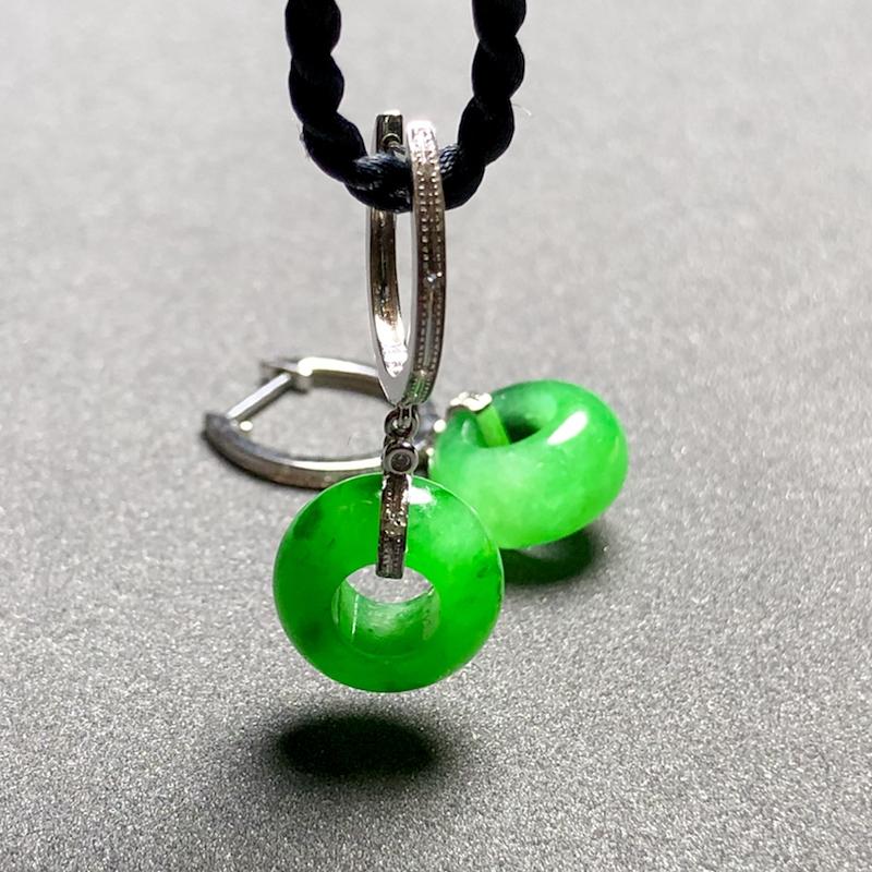绿花扣子耳坠, 【坠坠-岁岁平安】, 裸石11.6-6.2mm,4.5g, 18K金伴天然钻石镶嵌,
