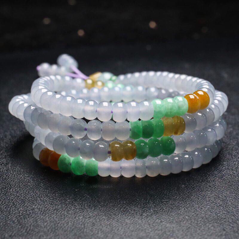 拍下有礼天然翡翠珠链,共191颗珠子,取其中一颗珠尺寸:5.9*4.1mm,珠子清秀高雅,玉质
