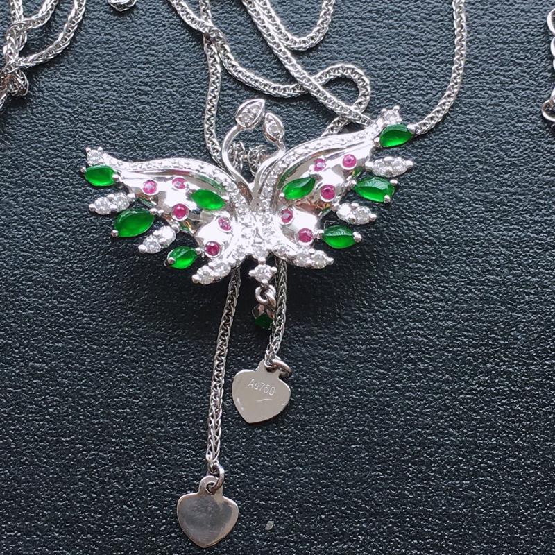 【超值精选】蝴蝶项链,18k金伴钻镶嵌 种好通透,水润玉质细腻,工艺佳,饱满品相佳,可直接佩戴。裸石