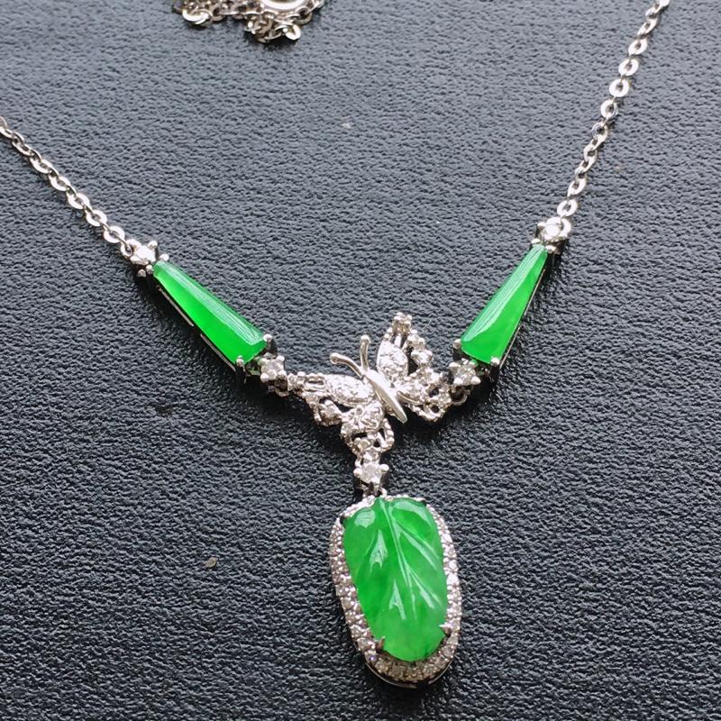【超值精选】阳绿项链,18k金伴钻镶嵌 种好通透,水润玉质细腻,工艺佳,饱满品相佳,可直接佩戴。裸石