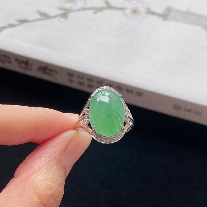 0223老坑精美水润满绿翡翠18K金镶钻戒指