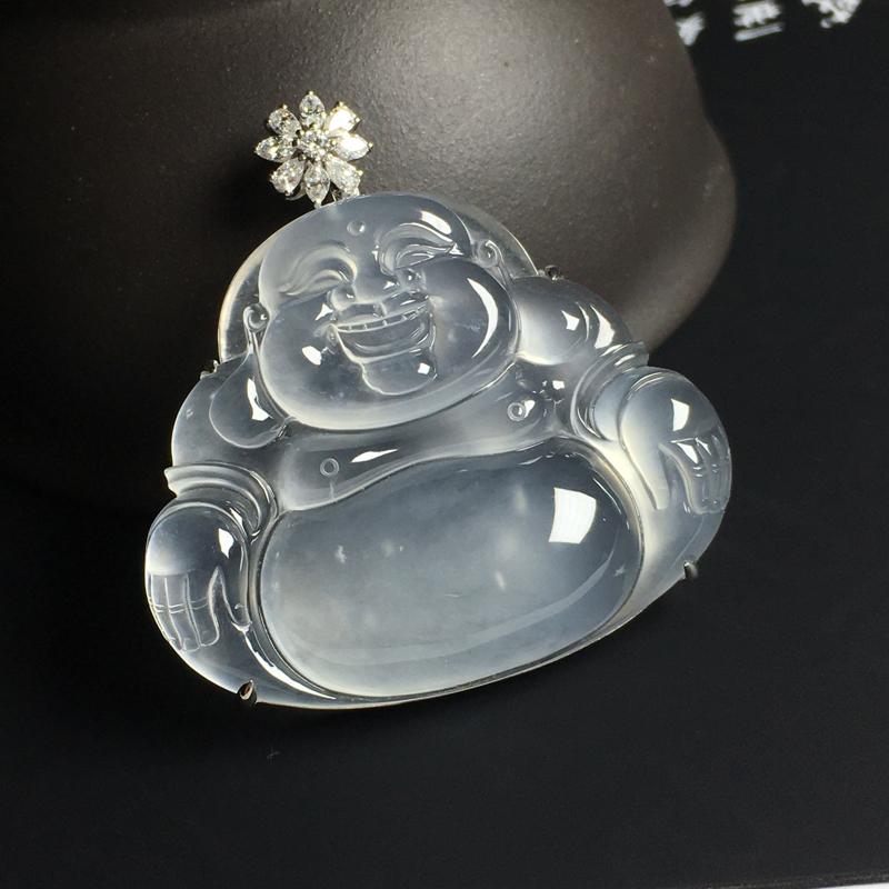 玻璃种佛公吊坠 18K金带钻镶嵌 裸石尺寸32-39-4毫米 冰透起胶 光泽亮丽