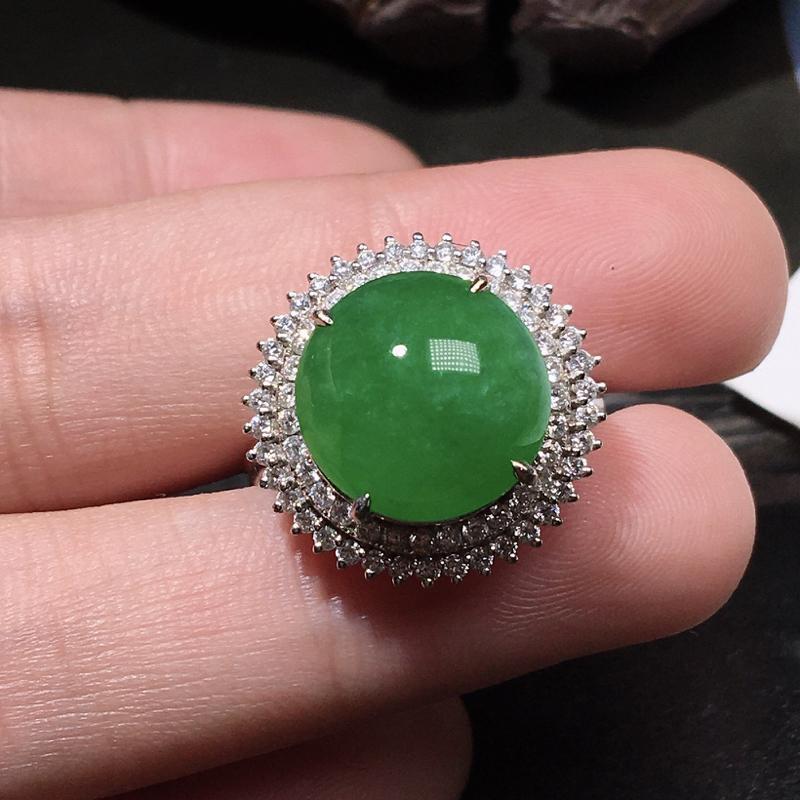 严选推荐(大个头满绿色蛋面戒指)老坑糯冰种满绿色大蛋面女戒指,裸石形体佳,大尺寸,18k金钻豪