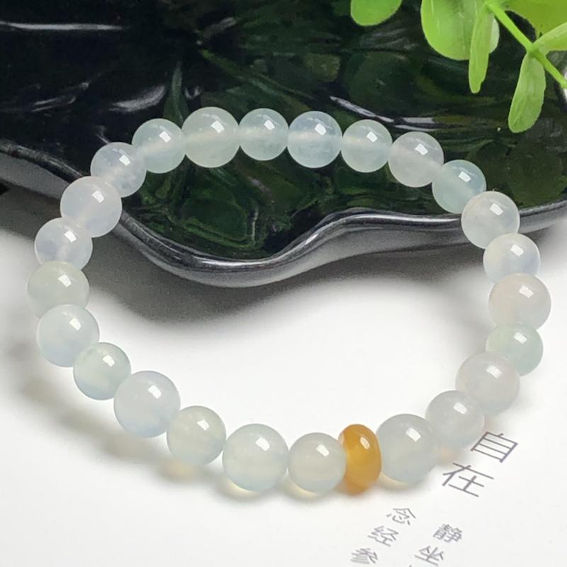 冰糯种翡翠珠链手串、直径8.6毫米、质地细腻、水润光泽、ADA065C42