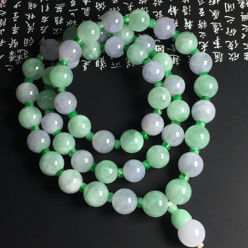 双彩佛珠项链 佛珠尺寸11毫米 玉质水润 色彩亮丽 配珠为翡翠