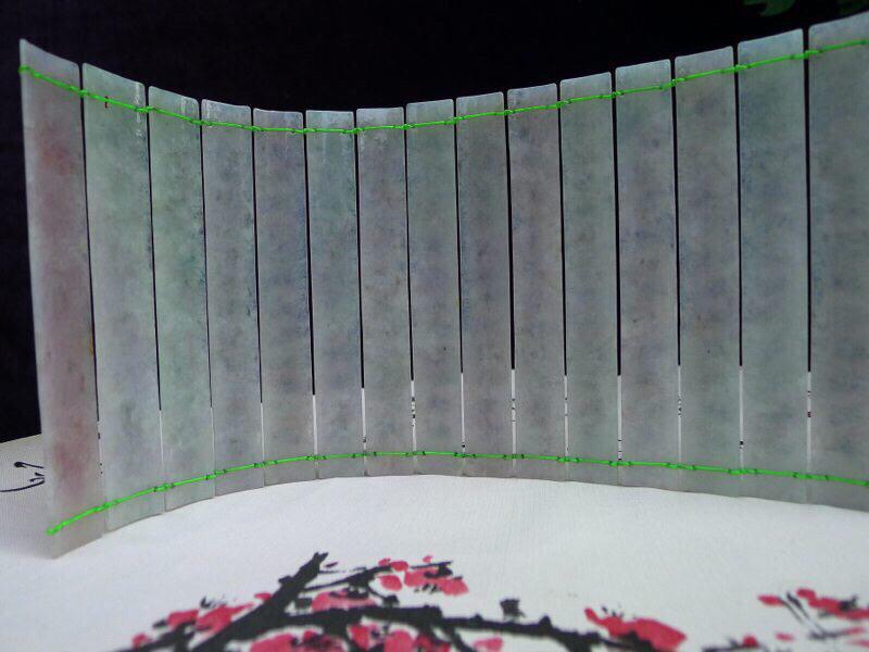 加大幅 翡翠冰糯水润(般若波罗蜜多心经)摆件 单片尺寸约 143*19*4.5mm 单片略有微不同,总长490mm加长版,