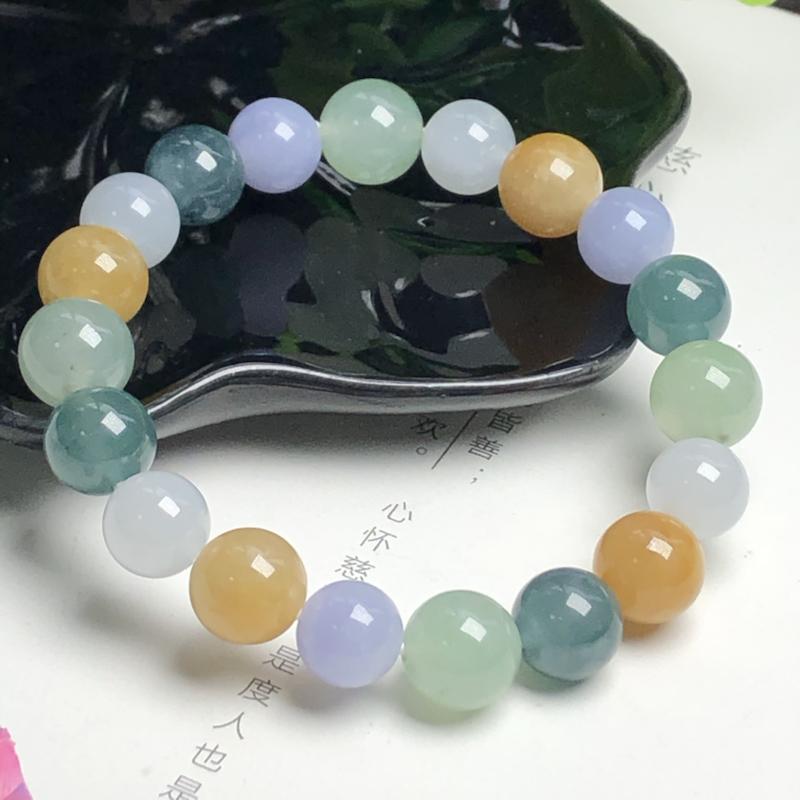 糯种多彩翡翠珠链手串、直径11.0毫米、质地细腻、色彩鲜艳、ADA022C25