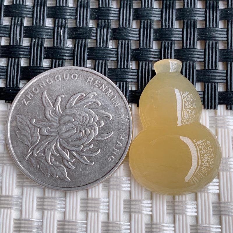 葫芦戒面、A货翡翠冰透黄翡葫芦戒面、编号0228dz