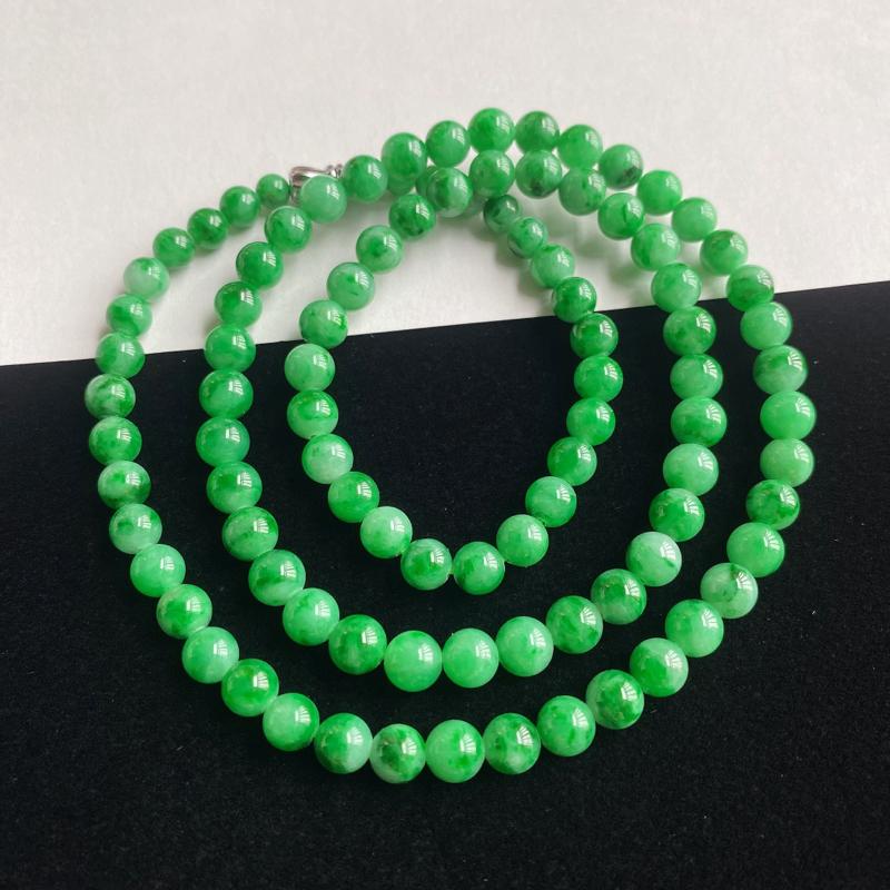 0227老坑精美水润阳绿翡翠玉珠项链 大珠5.9mm 小珠4.3mm 共96颗玉珠