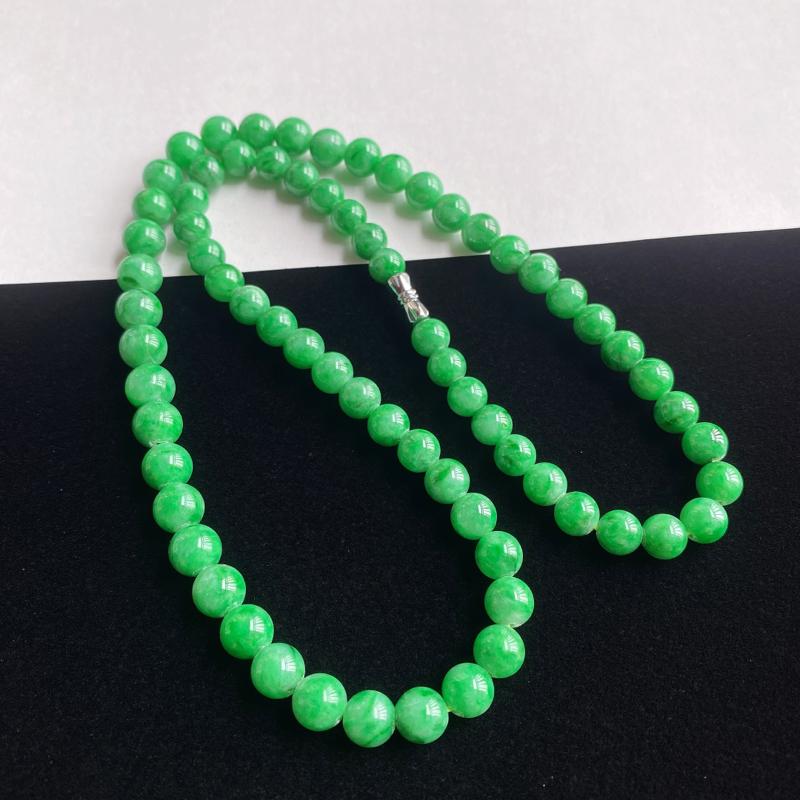 0228老坑精美水润阳绿天然A货翡翠玉珠项链 大珠8.4mm 小珠7mm 共71颗玉珠