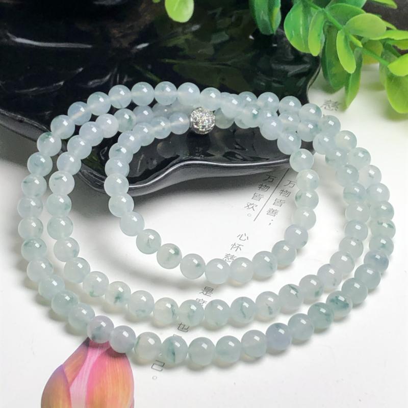 冰糯种飘花翡翠珠链项链、108颗、直径6.5毫米、质地细腻、飘花灵动、隔珠是装饰品、ADA028C3
