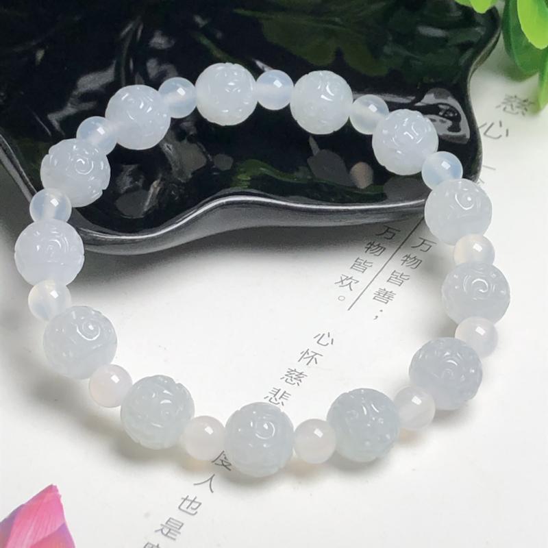 糯种回纹珠翡翠珠链手串、直径9.9毫米、质地细腻、水润光泽、隔珠是装饰品、ADA028C12