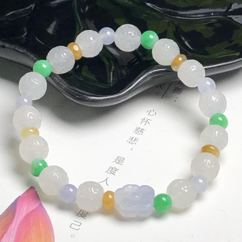糯种回纹珠翡翠珠链手串、直径8.2毫米、质地细腻、水润光泽、ADA085C33