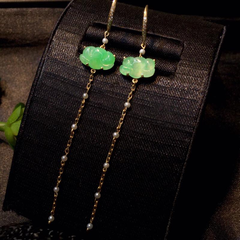 天然翡翠a货, 和和美美耳环款式大方,精致可爱,种水细腻,佩戴精美#*