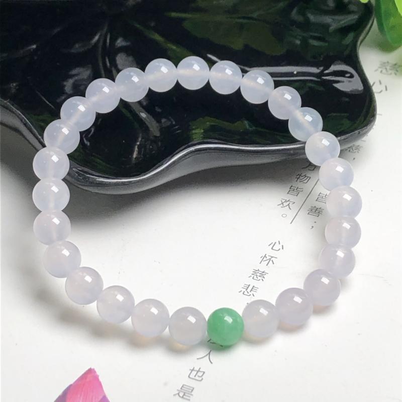 冰糯种翡翠珠链手串、直径7.0毫米、质地细腻、水润光泽、ADA028C25