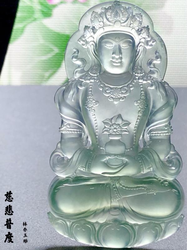 【慈悲普度】, 度母观音菩萨, 玉雕大师林乔作品, 尺寸67.5-37.5-7mm,30g, 料子起
