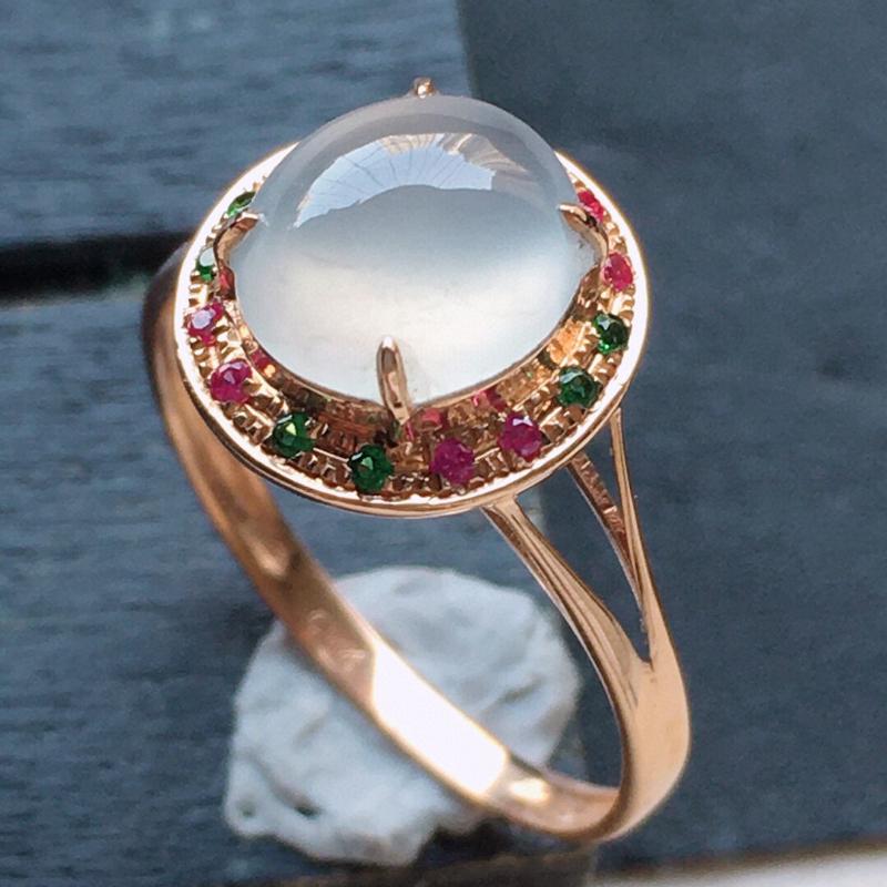 翡翠18圈18k金伴钻镶嵌蛋面戒指,玉质莹润,佩戴佳品,内径:18.3mm(可免费改圈口大小),整体