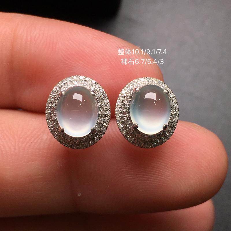 高冰蛋面耳钉,18k金豪华镶钻,无纹无裂,种好色好,质量杠杠的,性价比超高