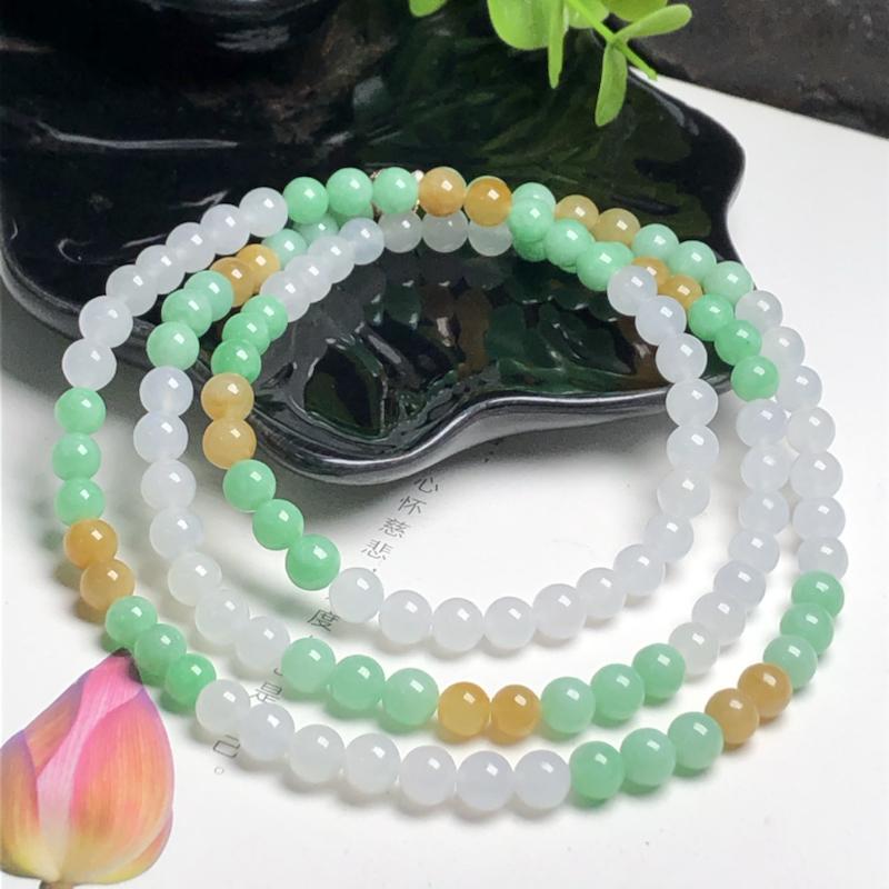 糯种三彩翡翠珠链项链、120颗、直径6.3毫米、质地细腻、色彩鲜艳、隔珠是装饰品、ADA085C15