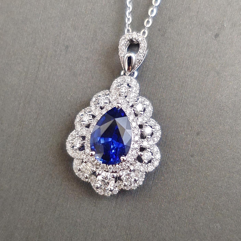 【【吊坠】18K金+蓝宝石+钻石 宝石颜色纯正 主石:2.05ct/P 货重:3.43g】图2