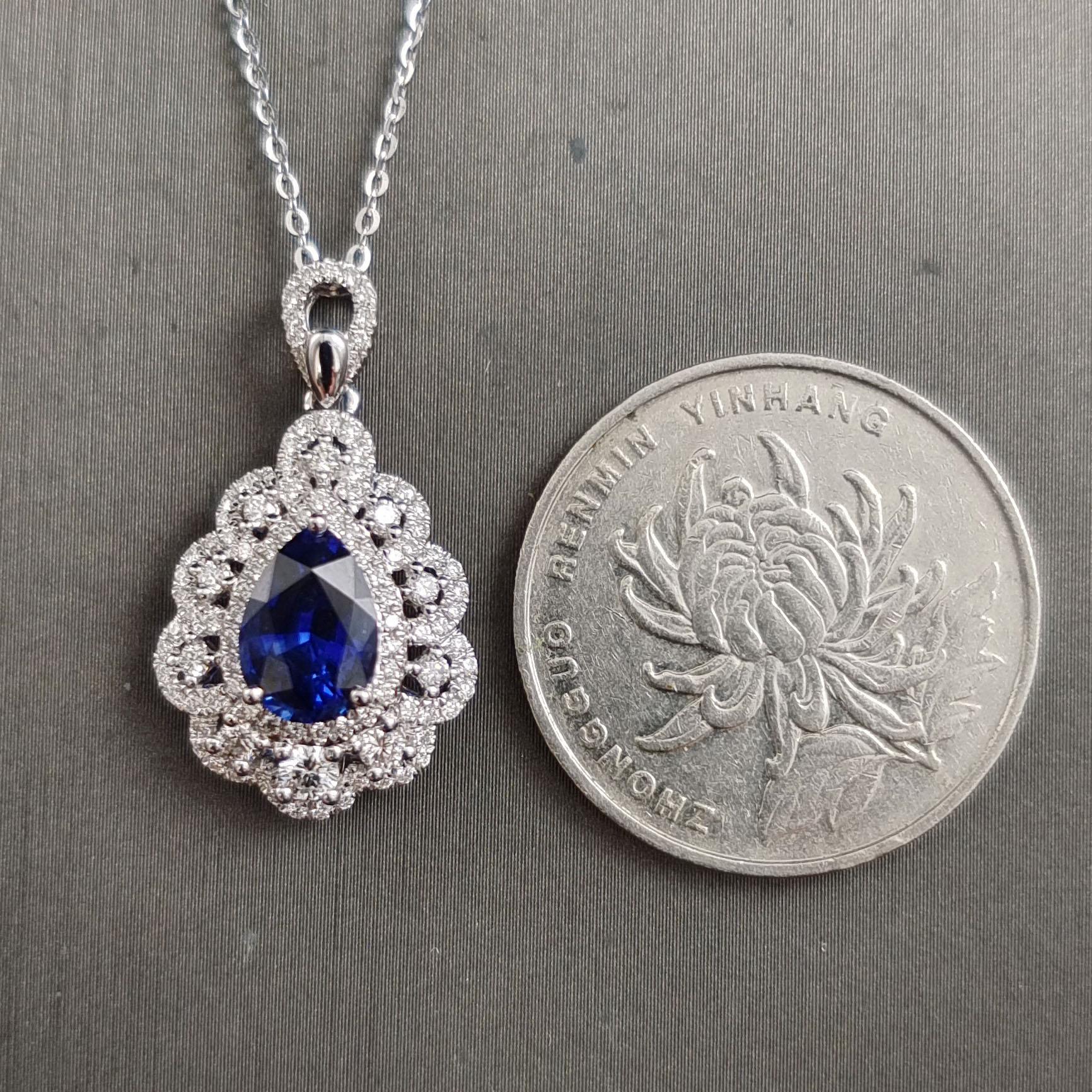 【【吊坠】18K金+蓝宝石+钻石 宝石颜色纯正 主石:2.05ct/P 货重:3.43g】图5