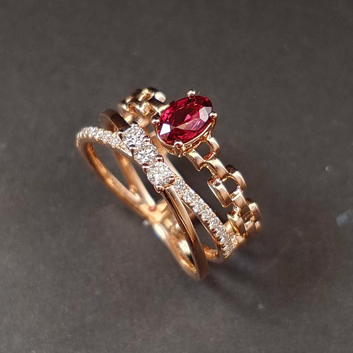 【低价放漏】【戒指】18K金+红宝石+钻石