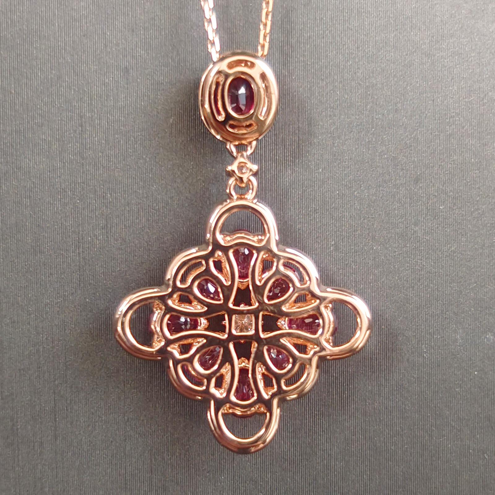 【【吊坠】18K金+红宝石+钻石 宝石颜色纯正 主石:2.52ct/9P 货重:4.61g】图5
