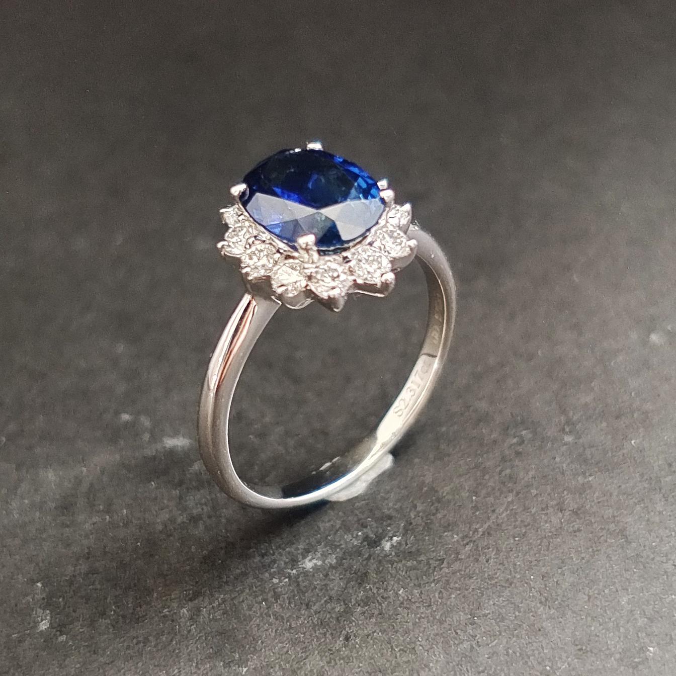 【【戒指】18K金+蓝宝石+钻石 宝石颜色纯正 主石:2.31ct/P 货重:3.55g 手寸:15寸】图2