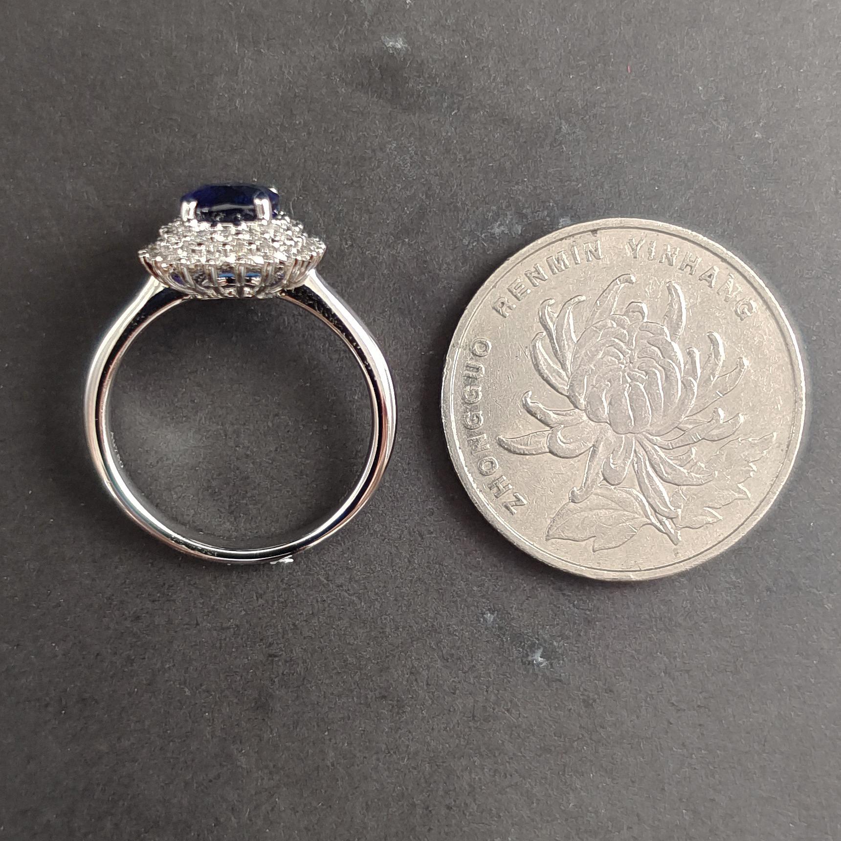 【【戒指】18K金+蓝宝石+钻石 宝石颜色纯正 主石:2.54ct/P 货重:4.74g 手寸:15寸】图5