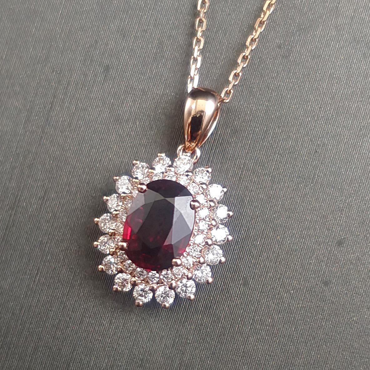 【【吊坠】18K金+红宝石(无烧)+钻石 宝石颜色纯正 主石:1.02ct/P 货重:2.30g】图3