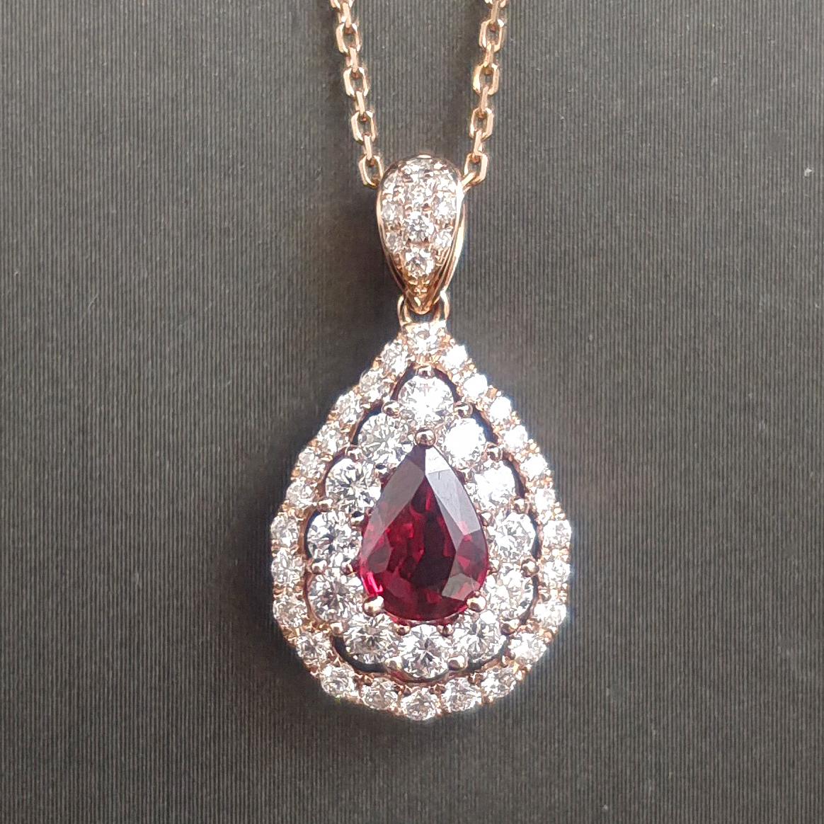 【吊坠】18K金+红宝石(无烧)+钻石 宝石颜色纯正 主石:0.68ct/P 货重:2.38g
