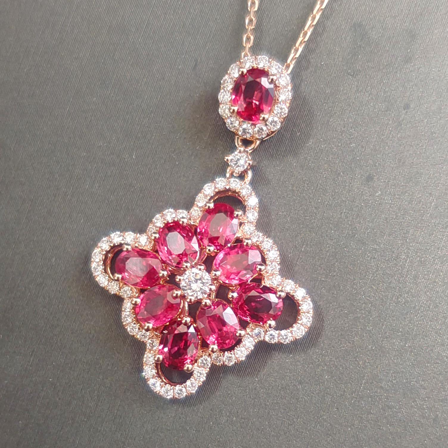 【【吊坠】18K金+红宝石+钻石 宝石颜色纯正 主石:2.52ct/9P 货重:4.61g】图2