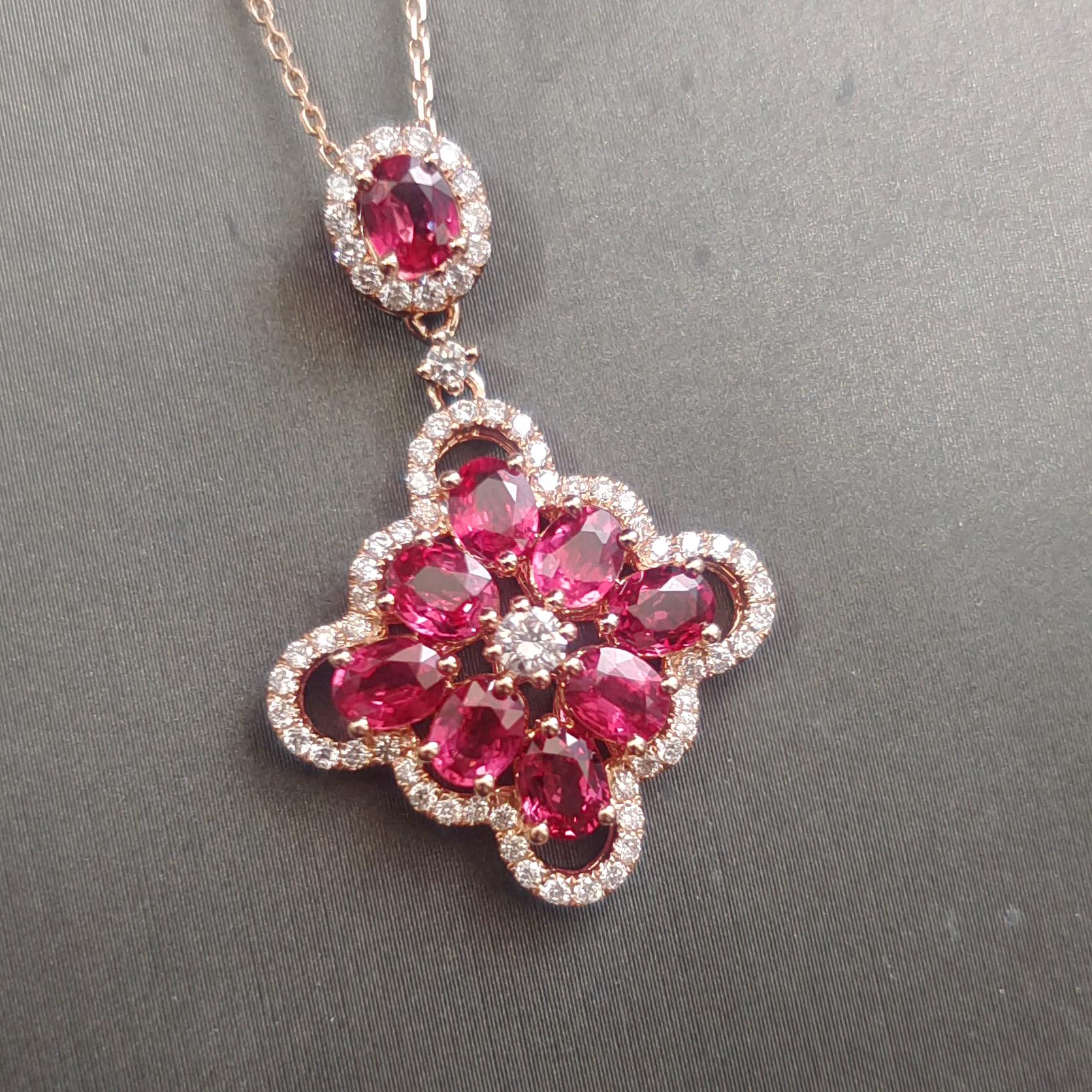 【【吊坠】18K金+红宝石+钻石 宝石颜色纯正 主石:2.52ct/9P 货重:4.61g】图3