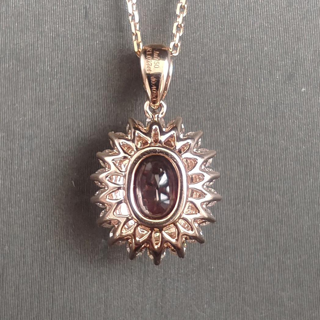 【【吊坠】18K金+红宝石(无烧)+钻石 宝石颜色纯正 主石:1.02ct/P 货重:2.30g】图5