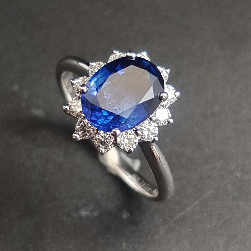 【【戒指】18K金+蓝宝石+钻石 宝石颜色纯正 主石:2.31ct/P 货重:3.55g 手寸:15寸】图4