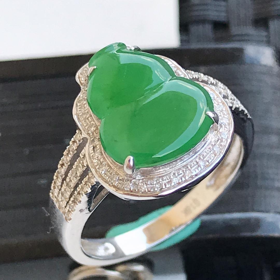 天然翡翠A货18K金镶嵌伴钻糯化种  水润浅绿葫芦戒指,内径17.1mm 裸石11.4-9.3-3m