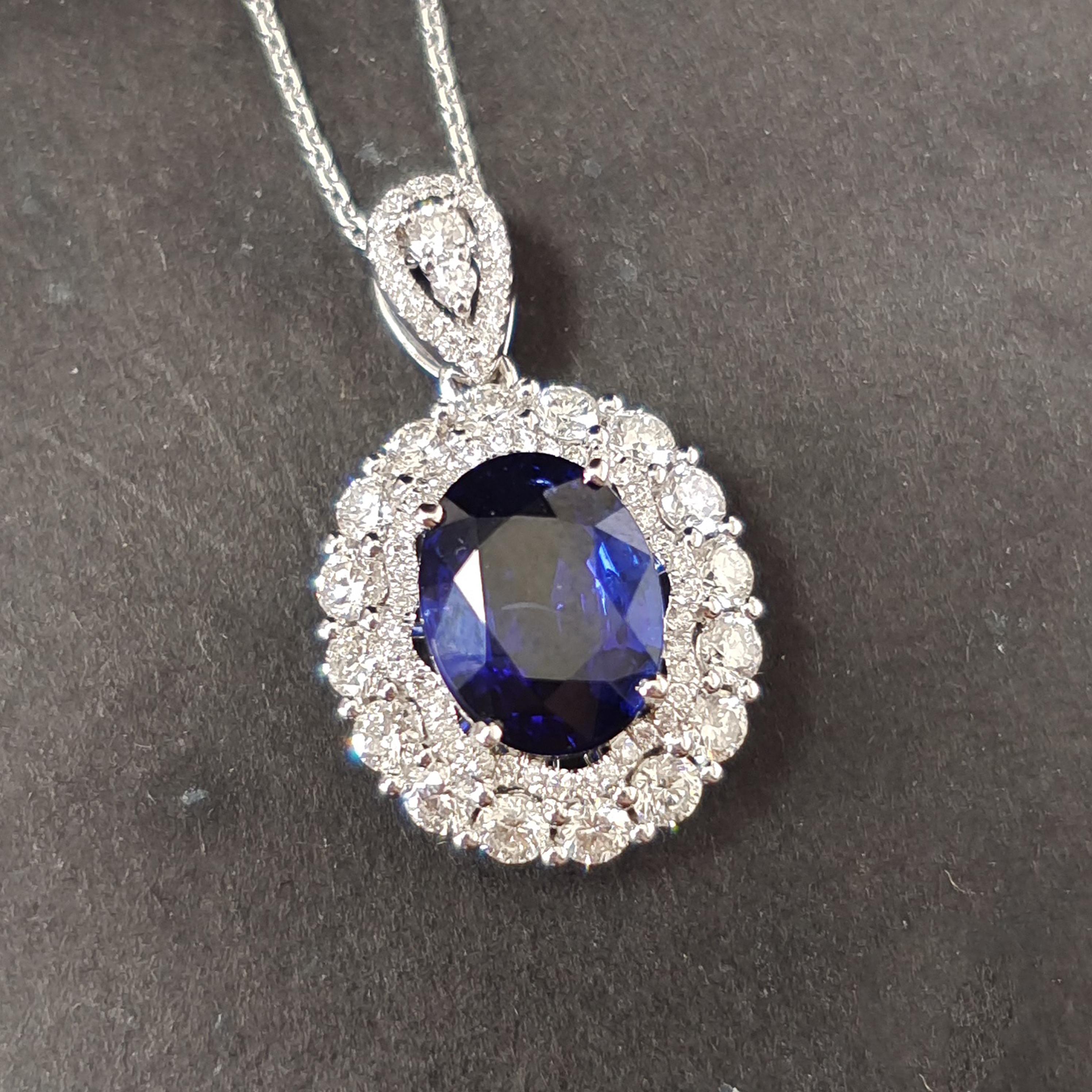 【吊坠】18K金+蓝宝石+钻石 宝石颜色纯正 主石:3ct/P 货重:3.75g