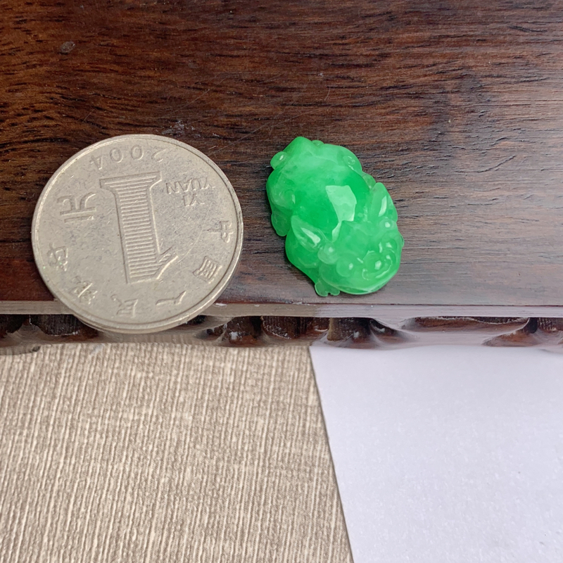 【A货翡翠-种好飘绿貔貅吊坠,尺寸-22.1*14.5*6.6mm】图8