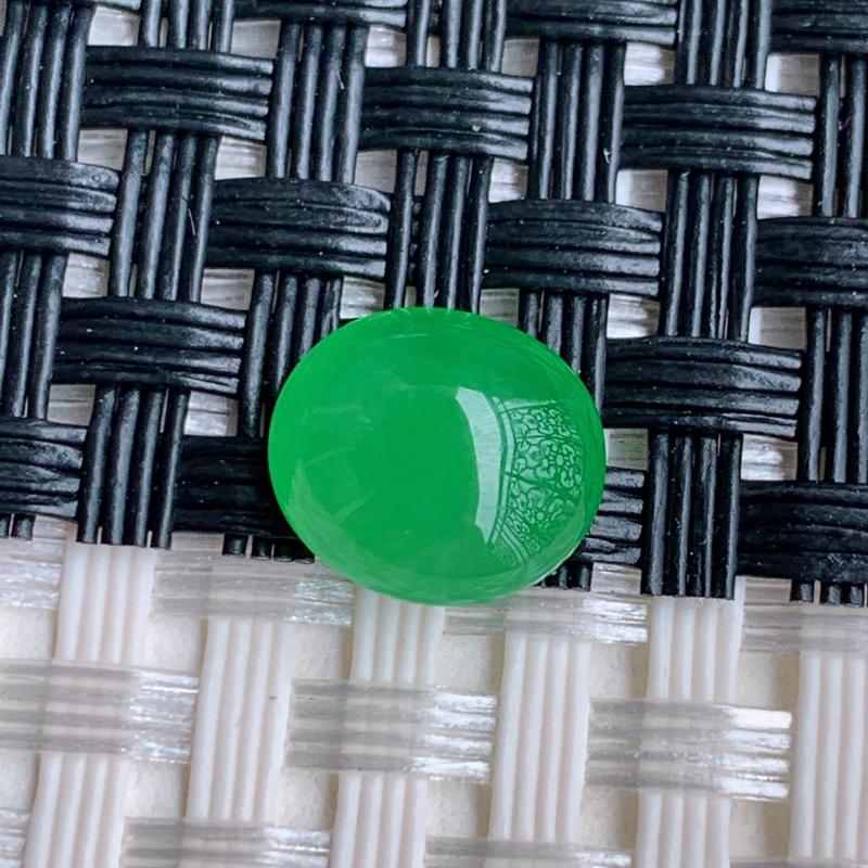 阳绿戒面、A货翡翠冰透阳绿蛋面戒面、编号0301