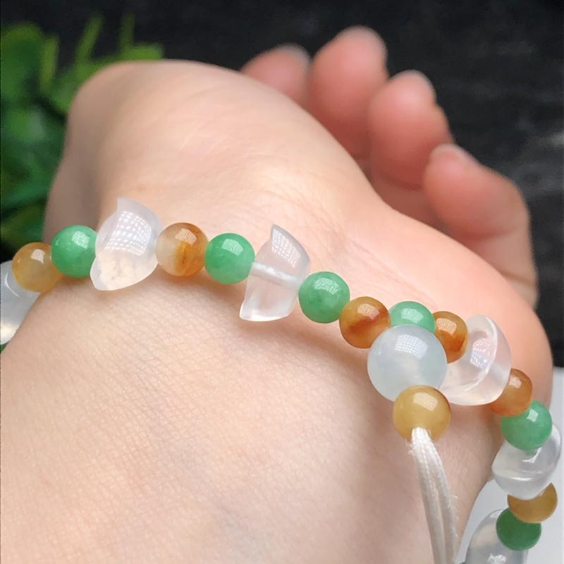 冰种元宝翡翠珠链手串、直径9.8*6.2*5.7毫米、质地细腻、水润光泽、ADA193C38